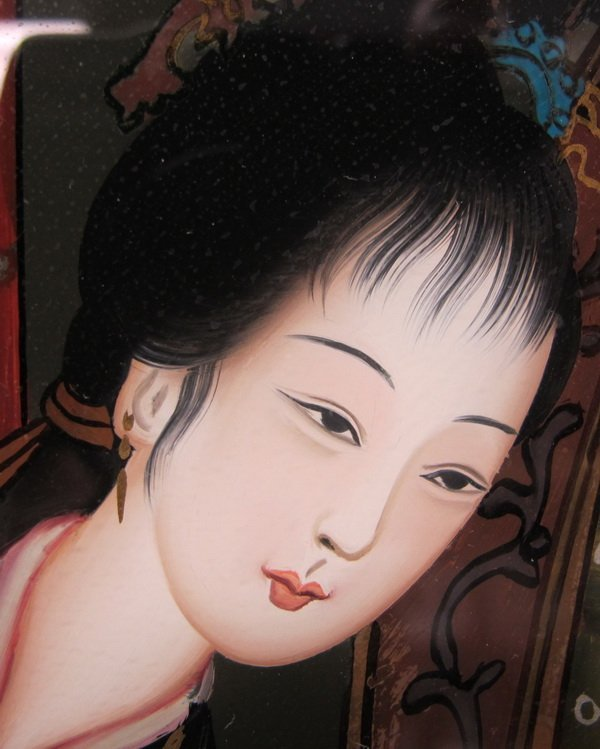 54: Old Japanese reverse glass painting - 5