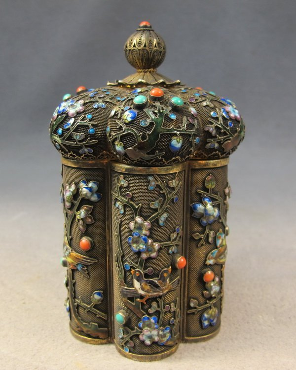 181: Chinese silver filigree, turquoise & coral box