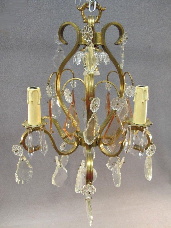7: Jansen style bronze & crystals chandelier