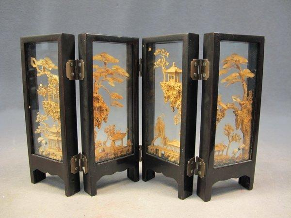 9: Chinese cork miniature folding screen