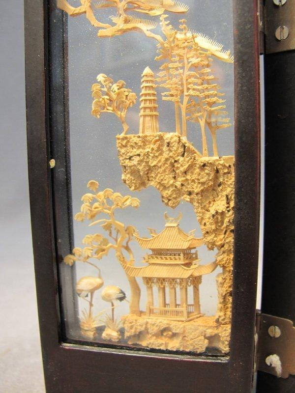 9: Chinese cork miniature folding screen - 2