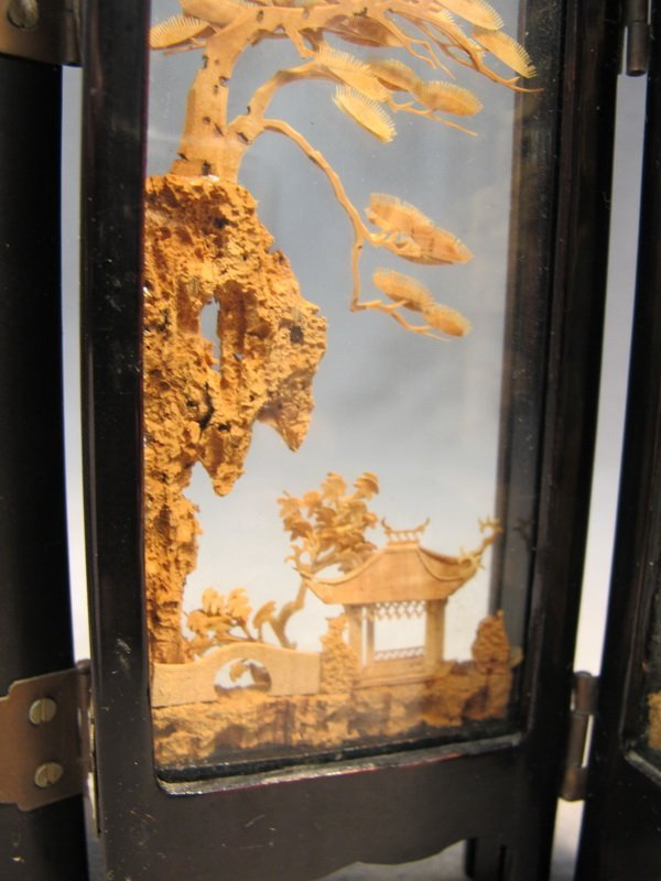 9: Chinese cork miniature folding screen - 3