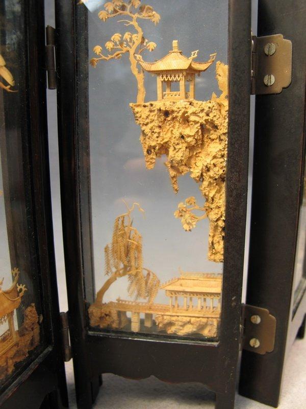 9: Chinese cork miniature folding screen - 4