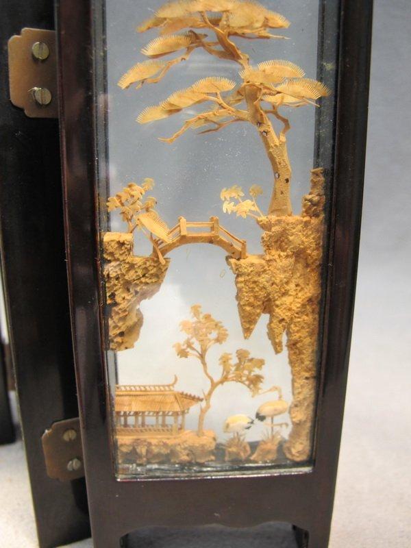 9: Chinese cork miniature folding screen - 5