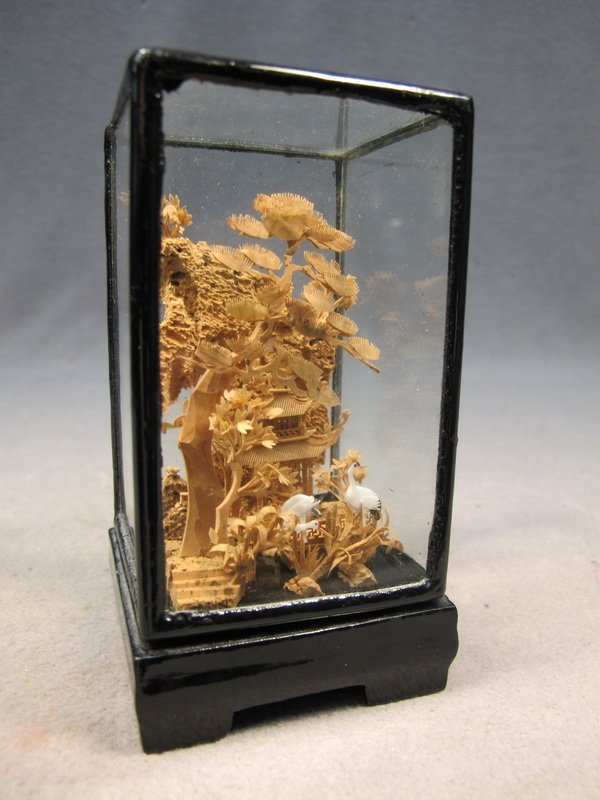 10: Chinese cork & ivory miniature sculpture