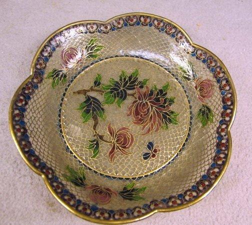 17: Small enamel glass & metal tray