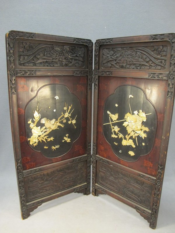 20: Chinese mother of pearl & wood screen