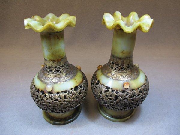 1: Chinese pair of bronze & alabaster vases