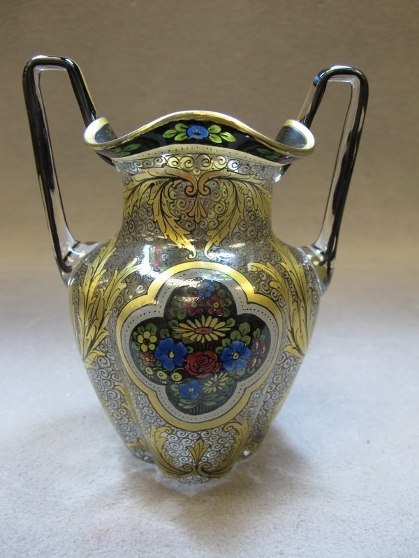 8: Old French painted glass vase