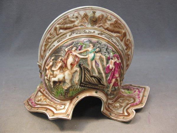 17: Old Capodimonti porcelain helmet