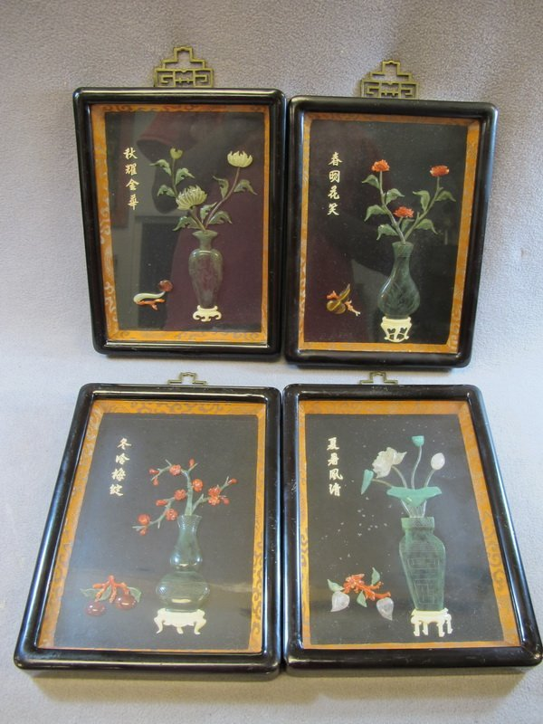 18: Chinese set of 4 ivory,coral and jade panels
