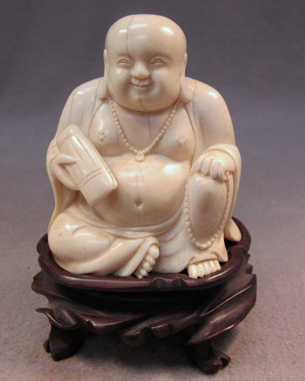19: Chinese carved ivory Buddha statue