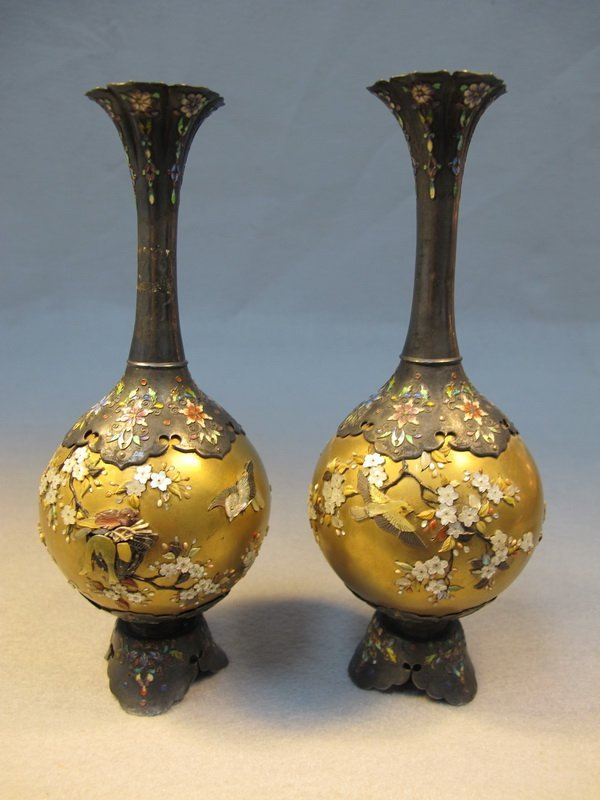 4: Japanese pair of inlaid Shibayama vases