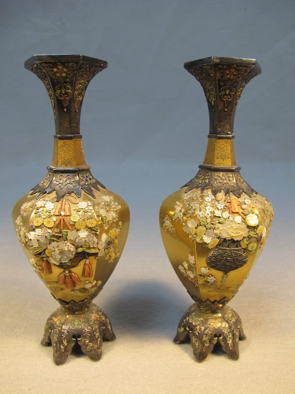 5: Japanese pair of inlaid Shibayama vases