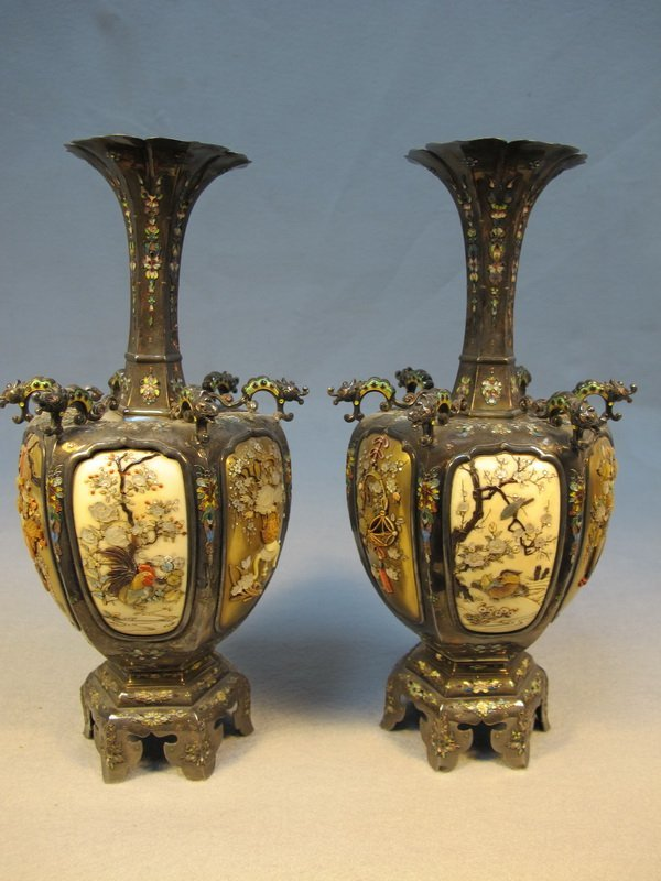 8: Japanese pair of inlaid Shibayama vases