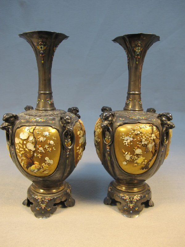 9: Japanese pair of inlaid Shibayama vases