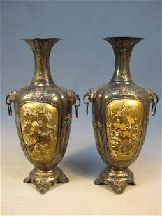 Japanese pair of inlaid Shibayama vases