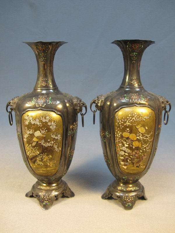 10: Japanese pair of inlaid Shibayama vases