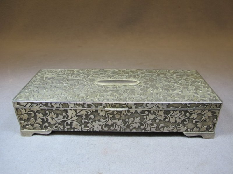6: Old silver-plate jewelry box