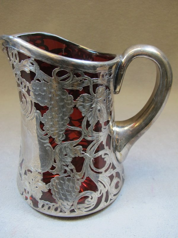 15: Red glass & silver overlay pitcher