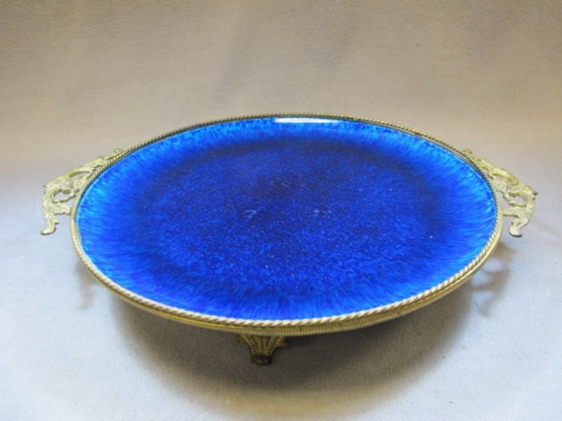 21: French Sevres porcelain & bronze tray