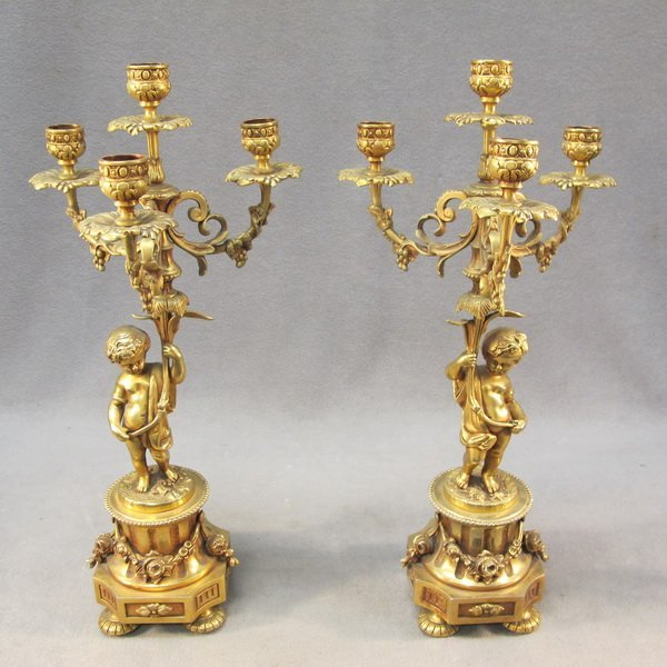 23: French pair of bronze candlesticks