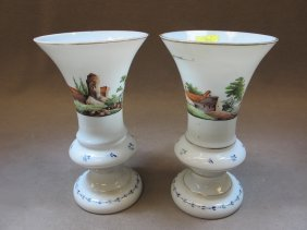 2: French pair of painted opaline vases