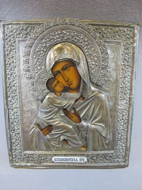4: Russian silver-plate copper icon
