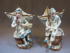 6: European pair of majolica statues