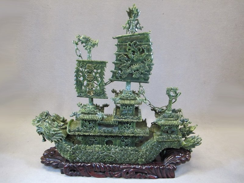 9: Chinese carved stone ship
