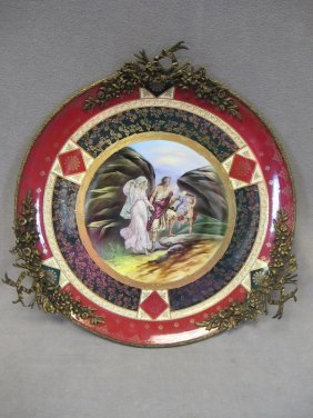 11: Big Royal Vienna porcelain & bronze plate