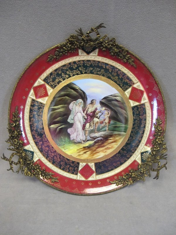 11: Big Royal Vienna porcelain & bronze plate