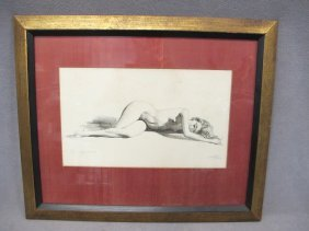 17: European nude print, signed