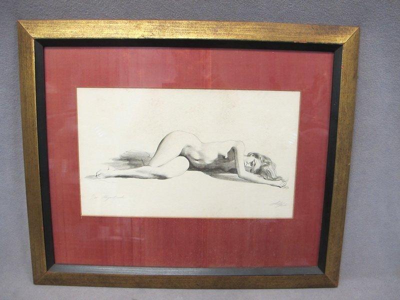 17: European nude print, signed