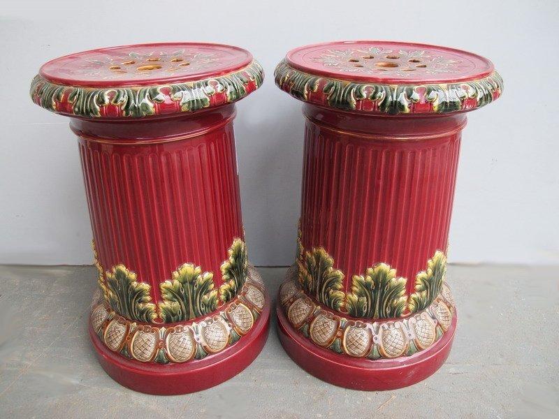 23: Italian pair of majolica pedestals