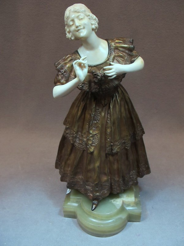 96: Paul PHILIPPE (1870-1930) bronze & ivory statue