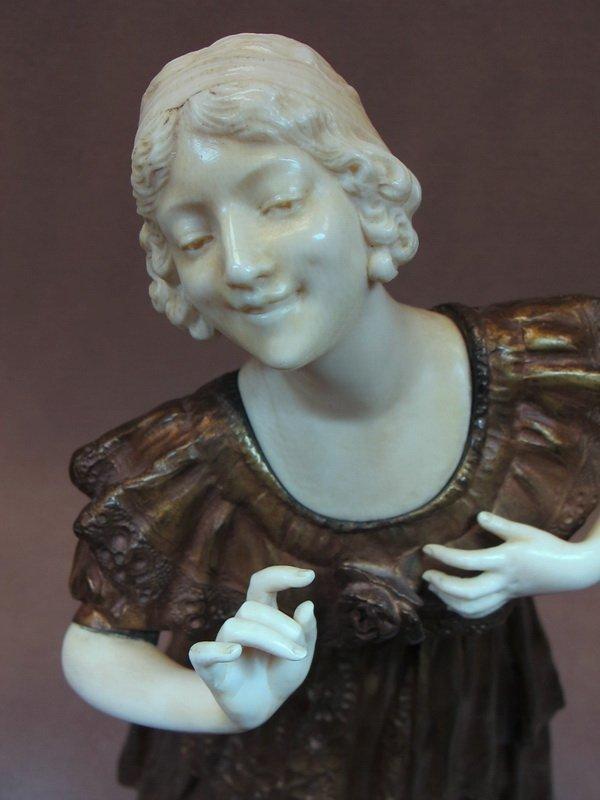 96: Paul PHILIPPE (1870-1930) bronze & ivory statue - 2