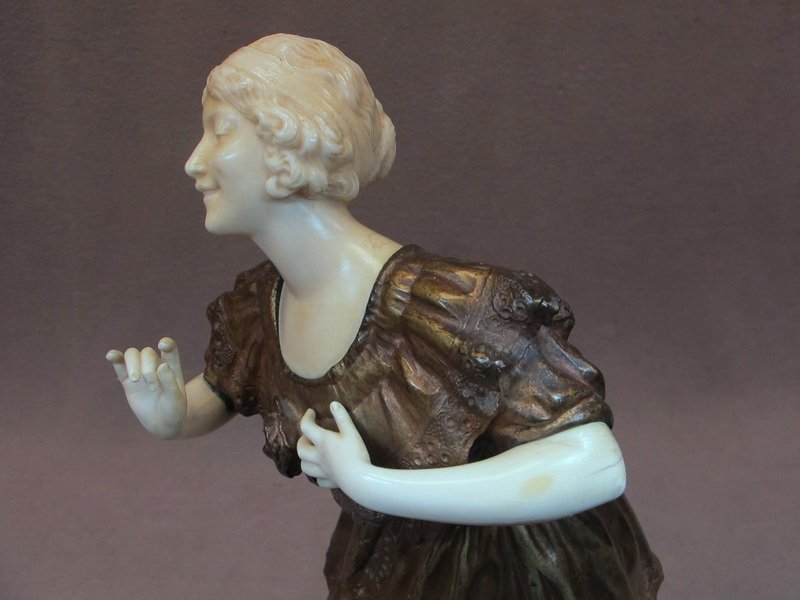 96: Paul PHILIPPE (1870-1930) bronze & ivory statue - 4