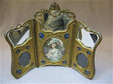 97 Old French bronze  enamel picture frame