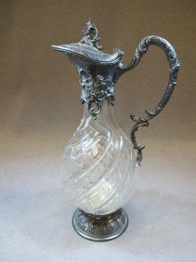 Antique WMF silver-plate & glass jug