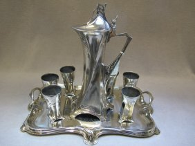 Antique WMF Silver-plate Jug Liquor Set