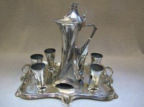 Antique WMF silver-plate jug liquor set