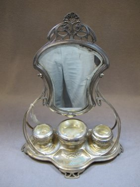 WMF Art Nouveau silver-plate vanity mirror