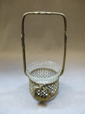 Antique French bronxe & glass basket