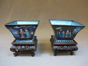 Pair of Chinese enamel vases
