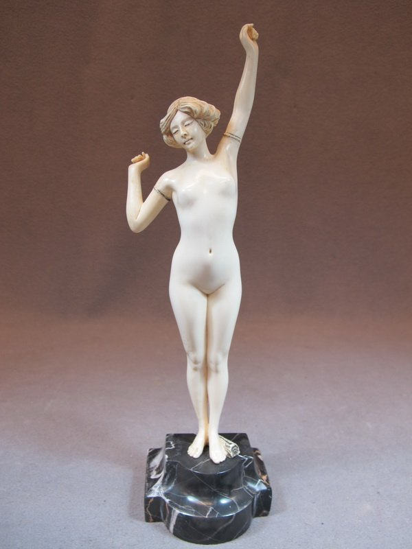 Signed P. Philippe carved ivory nude statue