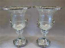 20th C Baccarat bronze & glass pair of urns
