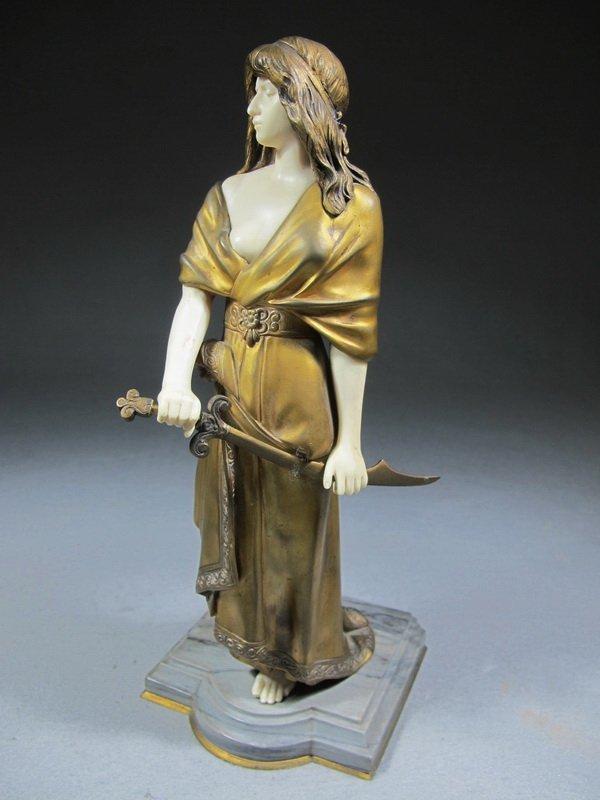 Dominique ALONZO (XIX-XX) bronze & ivory statue