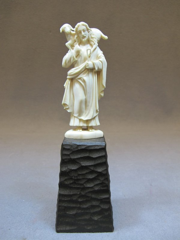 European carved ivory Jesus statue