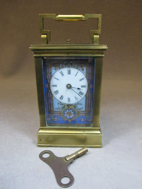 Antique European bronze & enamel travel clock